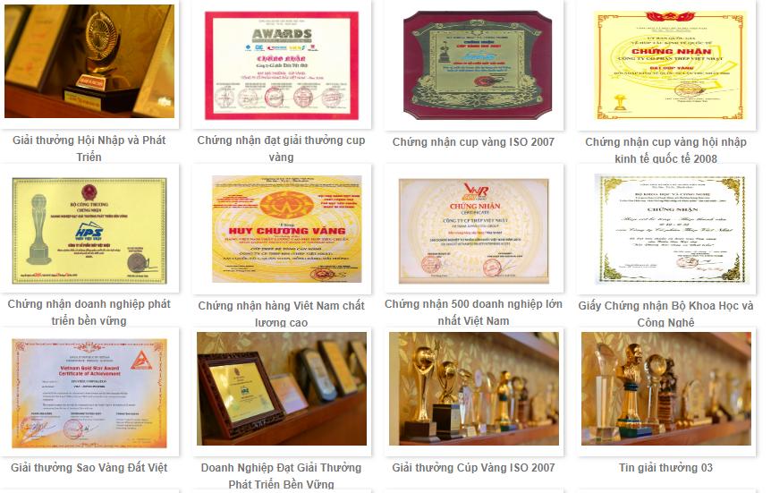 Một số giải thưởng của công ty